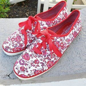 Keds Red Floral Running Shoes Size 8